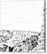 Grand Canyon National Park Mary Colter Designed Desert View Watchtower Black And White Line Art Canvas Print