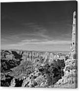 Grand Canyon National Park Mary Colter Designed Desert View Watchtower Near Sunset Black And White Canvas Print