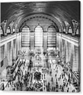 Grand Central Terminal Birds Eye View Bw Canvas Print