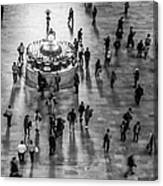 Grand Central Terminal Clock Birds Eye View II Bw Canvas Print
