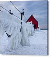Grand Haven Lighthouse In Winter Canvas Print