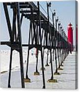 Grand Haven Lighthouse Pier In Winter Canvas Print