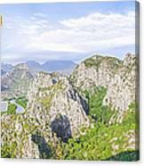 Grand Mountain And Farm  Canvas Print