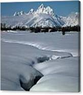1m9304-grand Teton From Jackson Hole, Winter, H Canvas Print