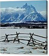 1m9306-grand Tetons From Ranch Country Canvas Print