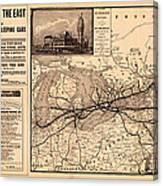 Grand Trunk Railway Map 1887 Canvas Print