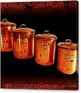 Grandma's Kitchen-copper Canister Set Canvas Print