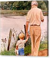 Little Boy And Grandpa In Park Canvas Print