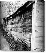 Grandpa's Wood Shed Black And White Canvas Print