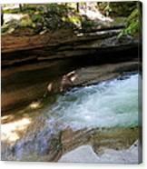 Granite Boulder And Sabbaday Brook Canvas Print