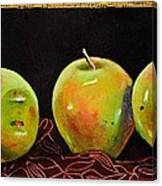 Granny Smith On Red Canvas Print