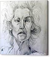 Graphite Portrait Sketch Of A Well Known Cross Eyed Model Canvas Print