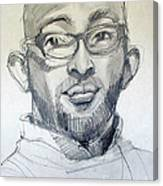 Graphite Portrait Sketch Of A Young Man With Glasses Canvas Print