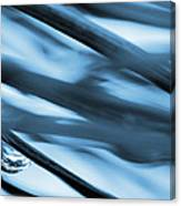 Grass And Raindrop Abstract In Blue Canvas Print