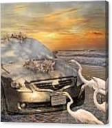 Grateful Friends Curious Egrets Canvas Print