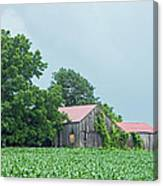 Gray Sky - Red Roofed Barn - Green Fields Canvas Print