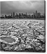 Gray Winter Chicago Skyline Canvas Print
