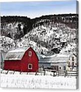 Great Canadian Red Barn In Winter Canvas Print