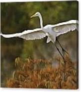 Great Egret Pixelated Canvas Print