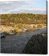 Great Falls Down River Fall Canvas Print