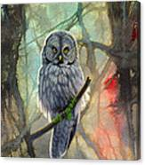 Great Grey Owl In Abstract Canvas Print