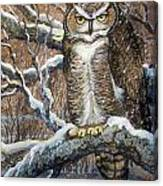 Great Horned Owl Another Storm Canvas Print