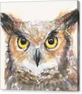 Great Horned Owl Watercolor Canvas Print