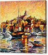 Greek Day - Palette Knife Oil Painting On Canvas By Leonid Afremov Canvas Print