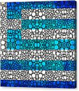 Greek Flag - Greece Stone Rock'd Art By Sharon Cummings Canvas Print