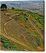 Greek Theatre With Bergama In Background From Pergamum-turkey Canvas Print