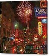 Greektown Night Canvas Print