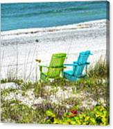 Green And Blue Chairs Canvas Print