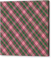 Green And Pink Diagonal Plaid Pattern Textile Background Canvas Print