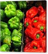 Green And Red Pepper Canvas Print