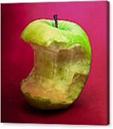Green Apple Nibbled 8 Canvas Print