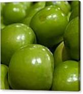 Green Apples On Display At Farmers Market Canvas Print