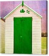 Green Beach Hut Canvas Print