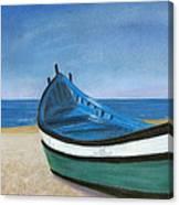 Green Boat Blue Skies Canvas Print