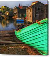 Green Boat Peggys Cove Canvas Print