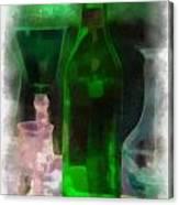 Green Bottle Photo Art Canvas Print