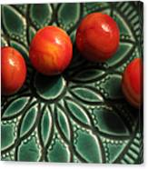 Green Bowl Red Marbles Canvas Print