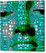Green Buddha - Stone Rock'd Art By Sharon Cummings Canvas Print
