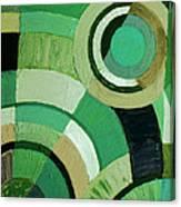 Green Circle Abstract Canvas Print