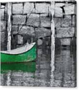 Green Dinghy Floating Canvas Print