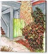 Green Door In Burbank - California Canvas Print