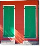 Green Doors With Sun Canvas Print