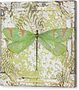 Green Dragonfly On Vintage Tin Canvas Print