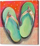 Green Flip Flops Canvas Print