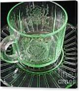 Green Glass Cup And Saucer Canvas Print