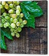Green Grapes On A Rustic Wooden Table Canvas Print